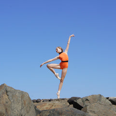 Peggy leotard Orange one piece black waist stripe high neck Balletto Body