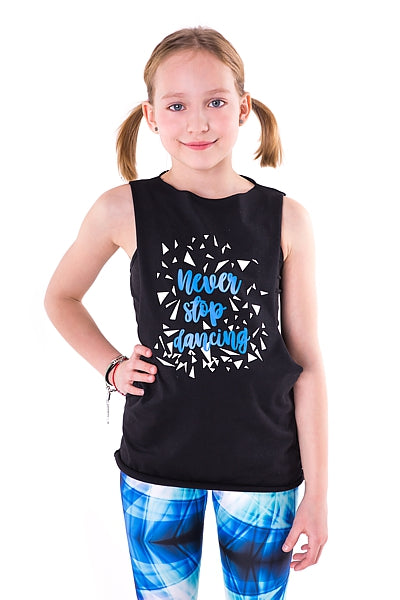 NEVER STOP DANCING Kids Top schwarz 2Skin