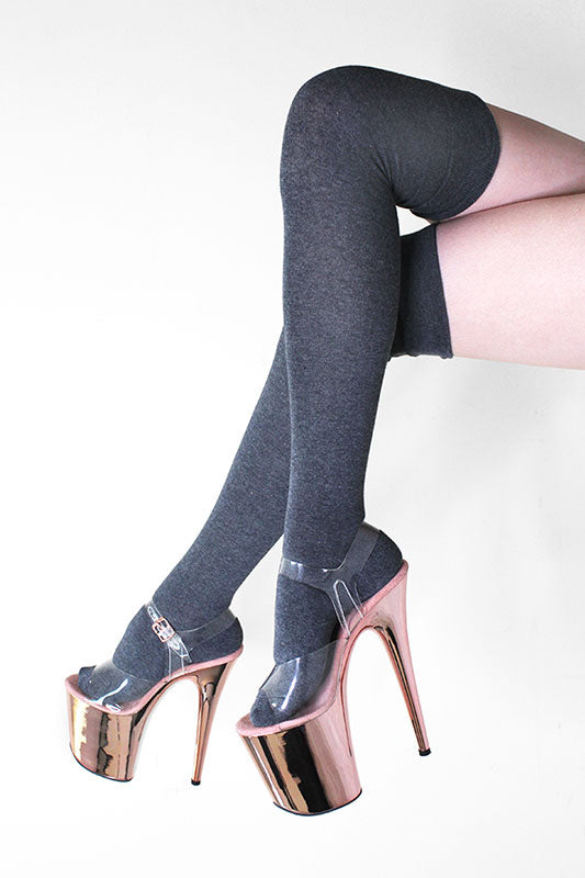 Thigh High Socks Charcoal Luna Polewear
