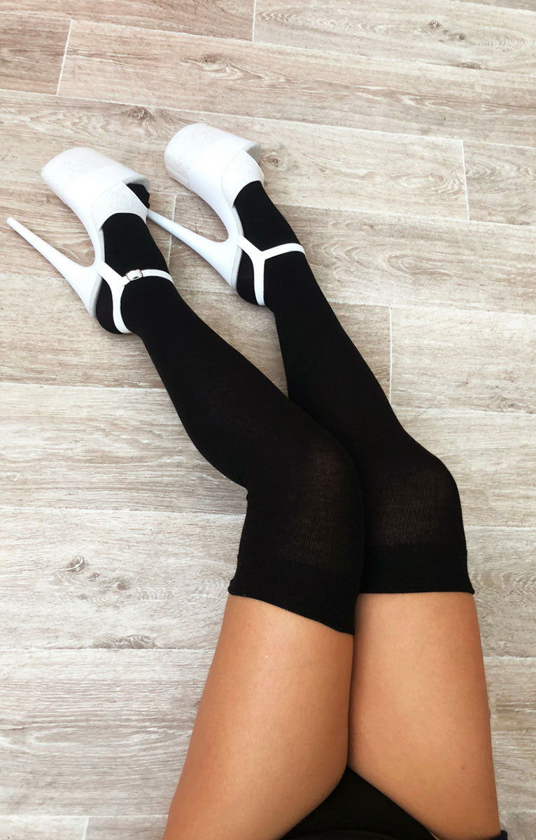 Thigh High Socks Black Luna Polewear