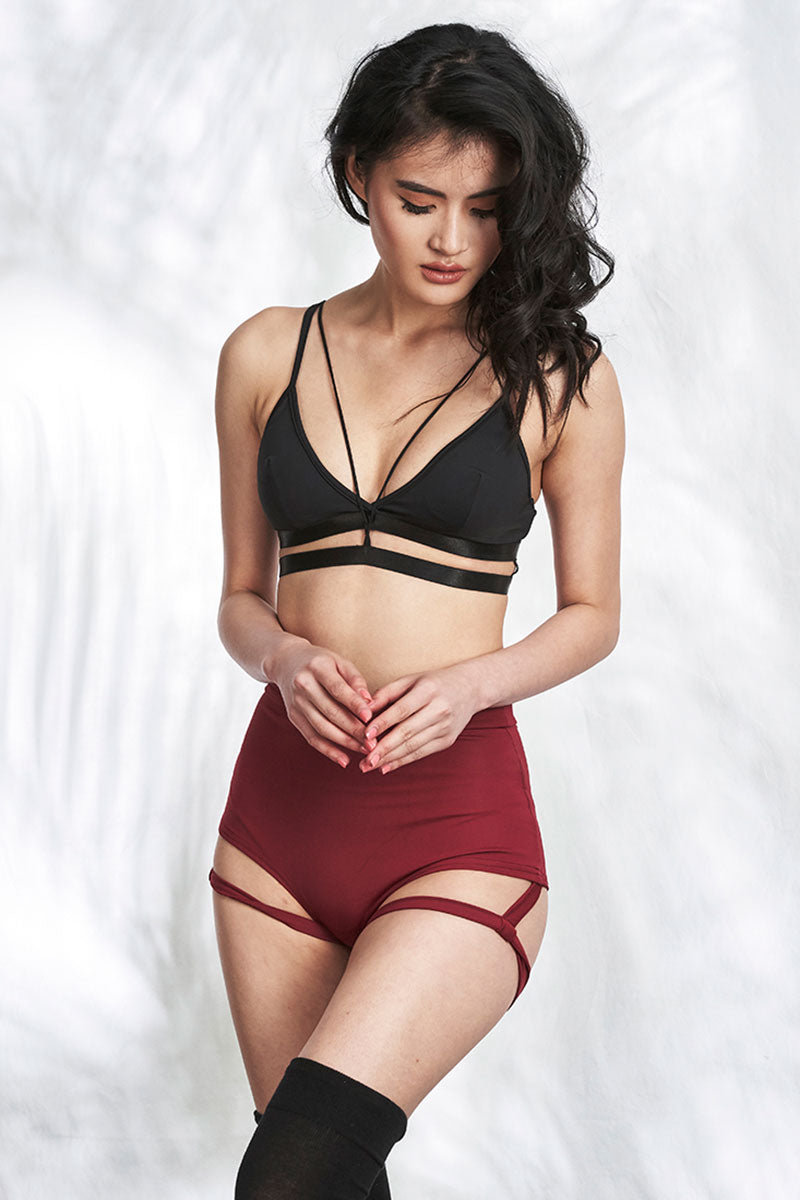 Lure You High Waist Garter Shorts Wine Luna Polewear