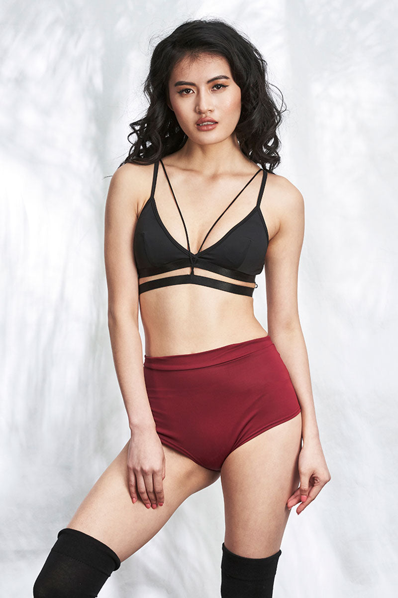 High Waist Basic Shorts Wine Luna Polewear