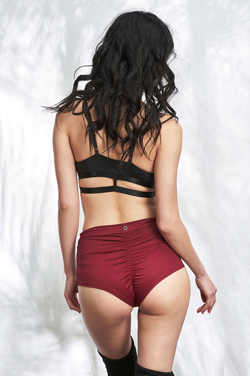High Waist Basic Shorts Wine