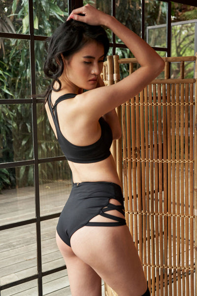High Waisted Cross Section Shorts Black Luna Polewear