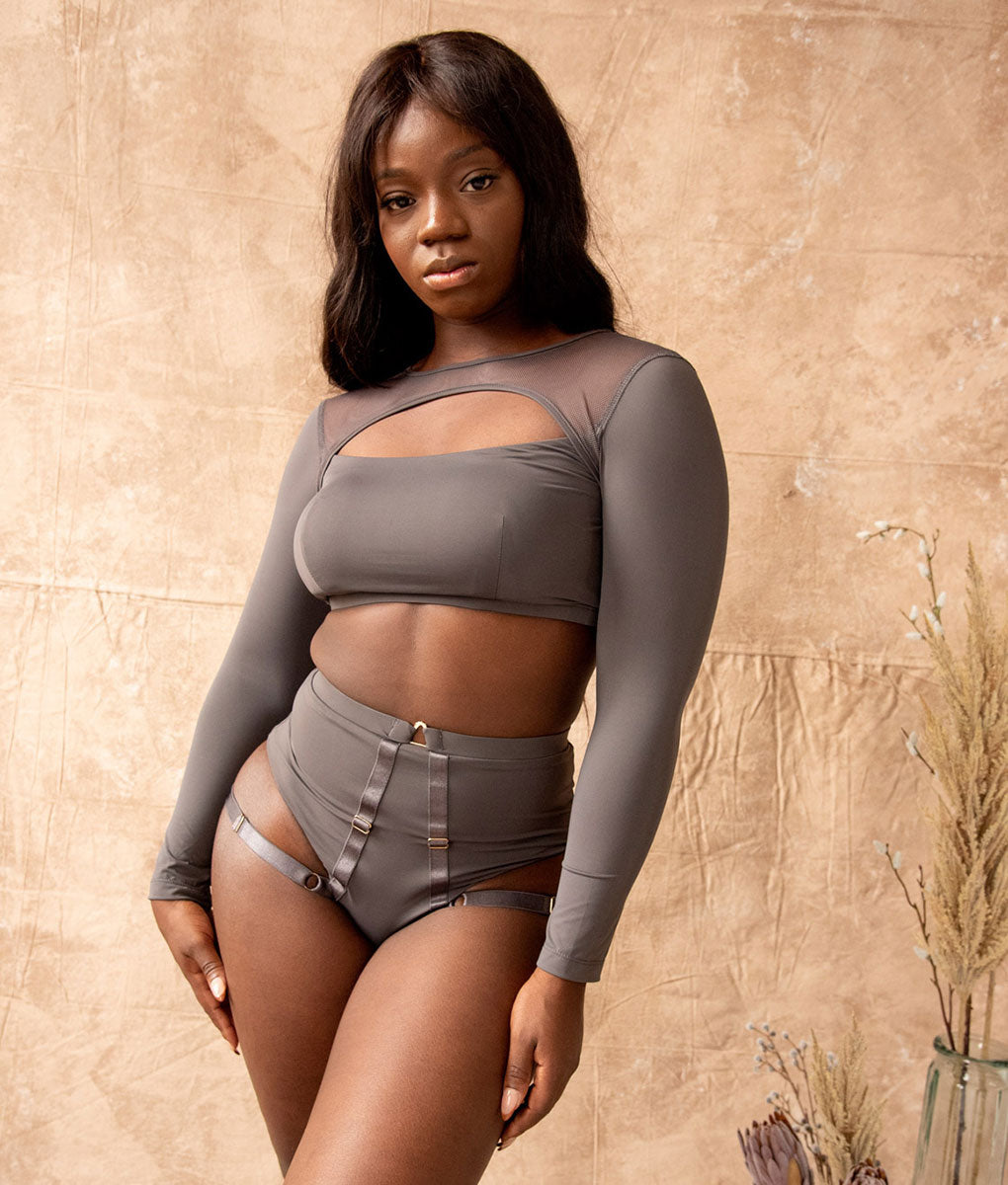 Esme Long Sleeve Crop Top Charcoal Tatiana Active Wear