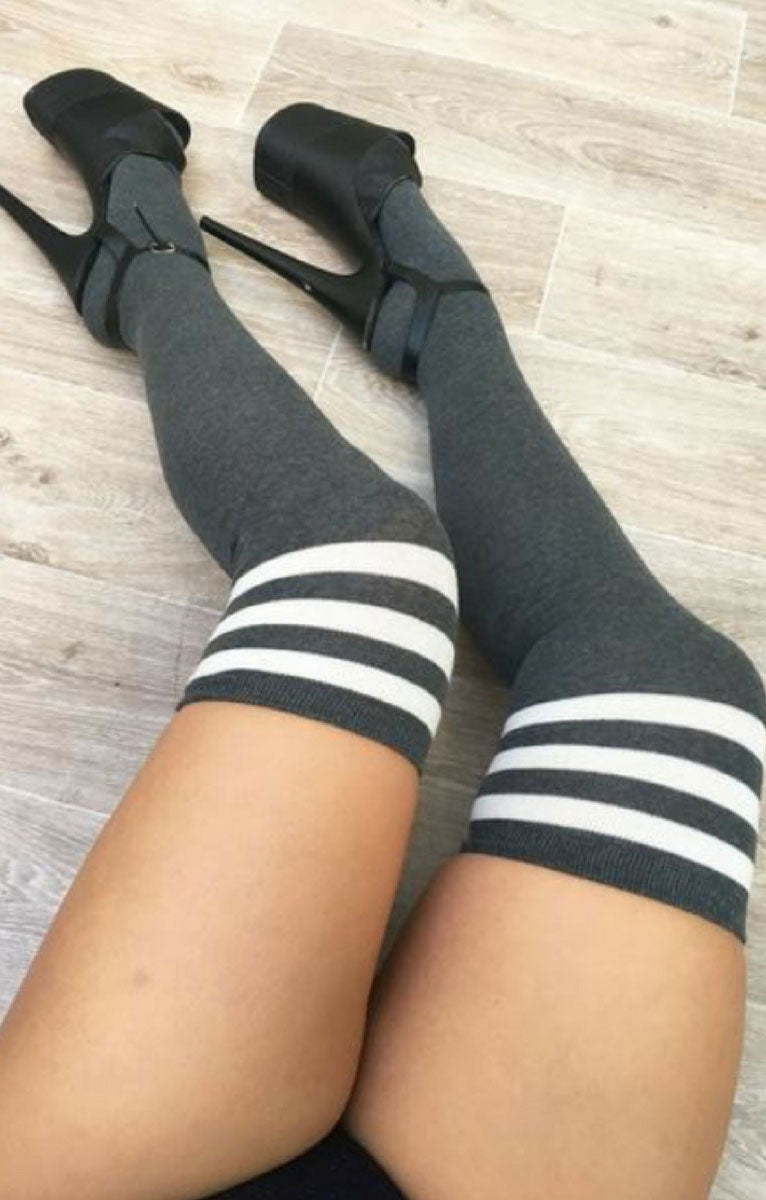 Thigh High Socks Charcoal with White Stripes Luna Polewear
