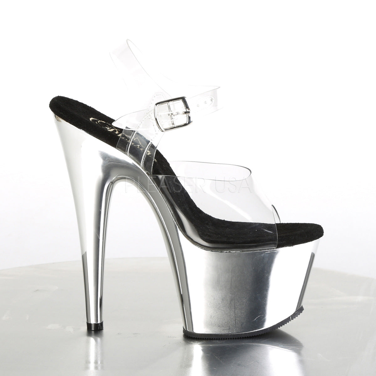 ADORE 708 Chrom 7 inch Pleaser - Clear Silver Chrome