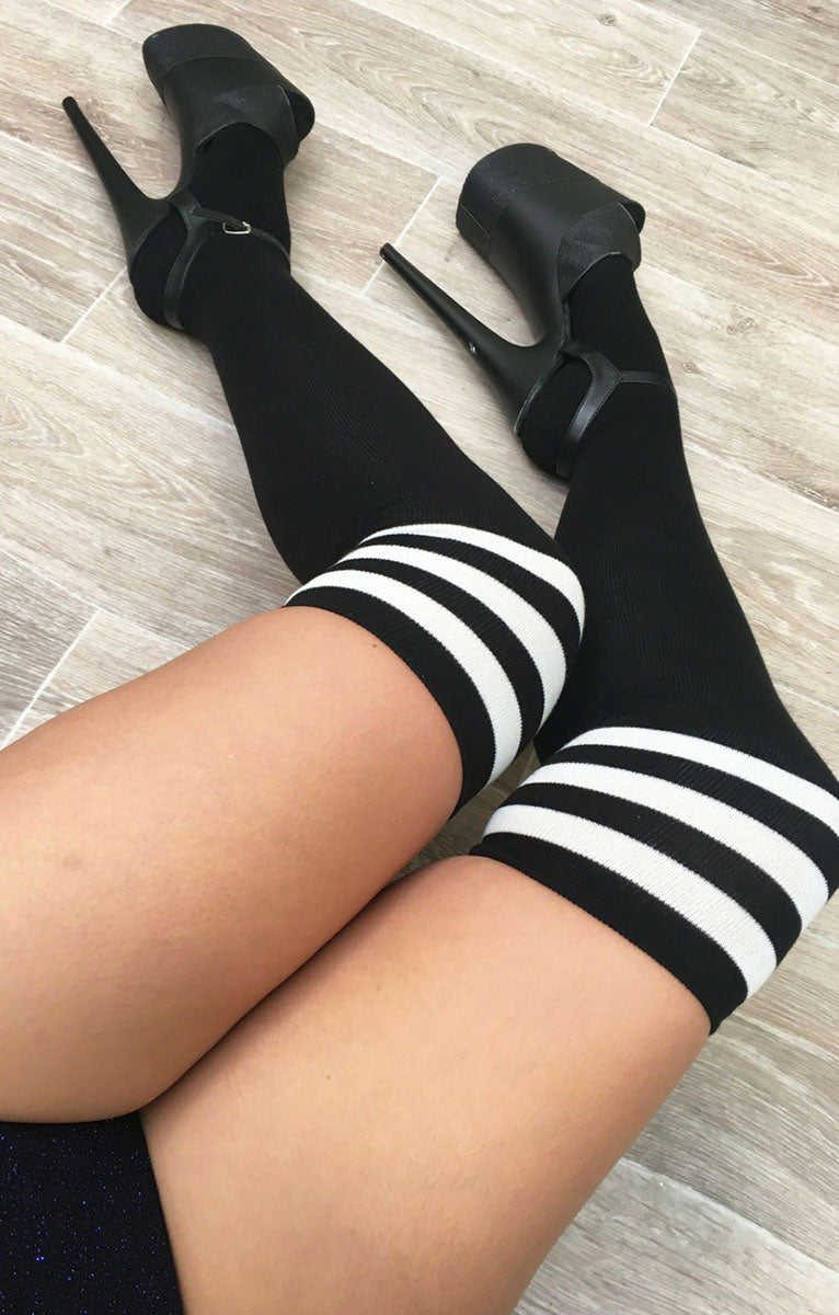Thigh High Socks Black with White Stripes Luna Polewear