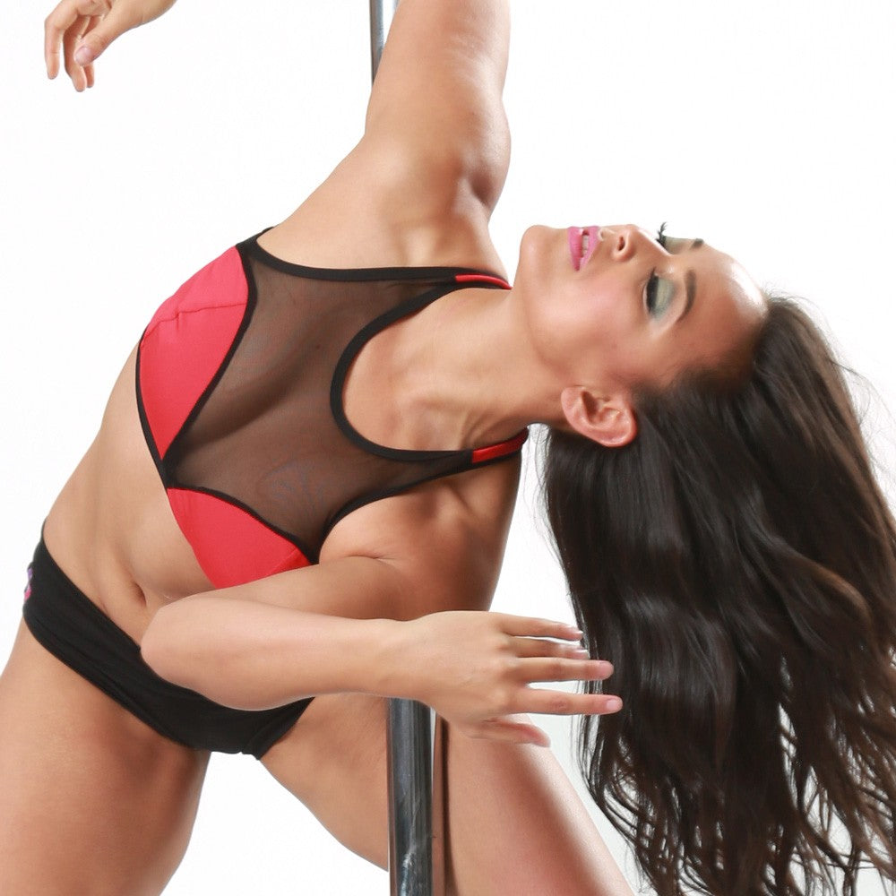 ShowGirl Pole Dancing Top türkis-schwarz Bad Kitty