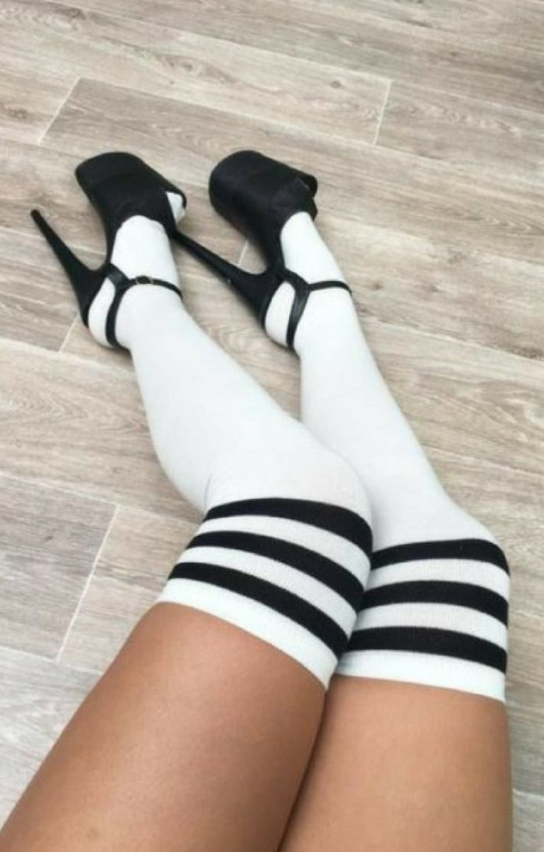 Thigh High Socks White with Black Stripes