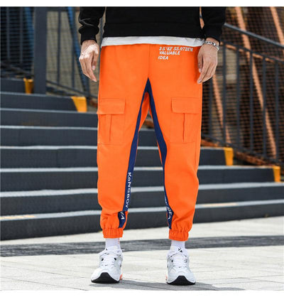 pantalon cargo homme orange