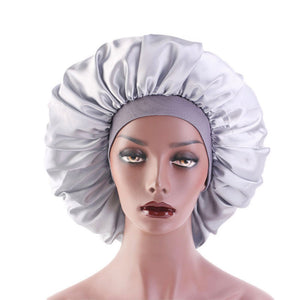 Soft Pure Satin Silk Sleeping Cap Night Sleep Hat Hair Care Scarves Bonnet Night Cap Black/Silver/Navy Blue - Hair She Come