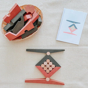wooden Montessori puzzle toy with challenge booklet