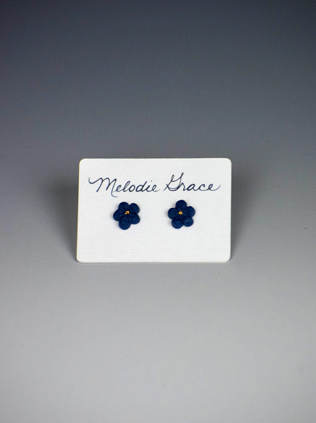 Navy Flower Earrings by Melodie Grace