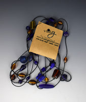 Amber Glass & Cobalt Necklace by Tammy Gentuso