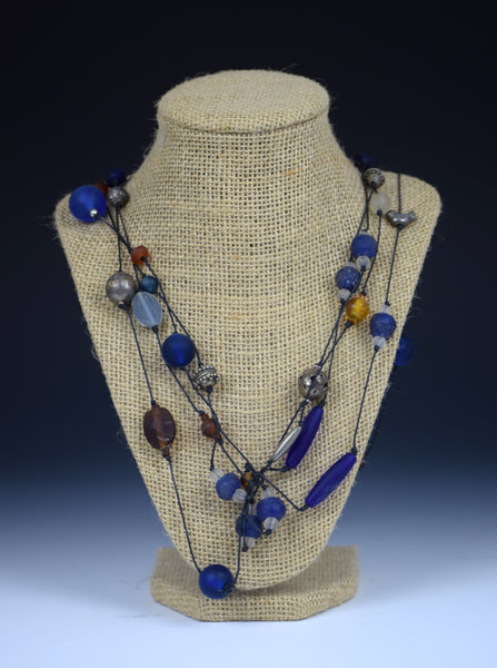 Tibeten Silver & Cobalt Necklace by Tammy Gentuso