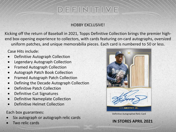 2021 Topps Definitive Baseball Box