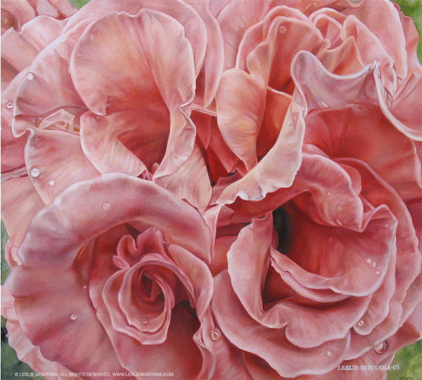 Deep Orange Rose Whorls oil painting on canvas by Leslie Montana