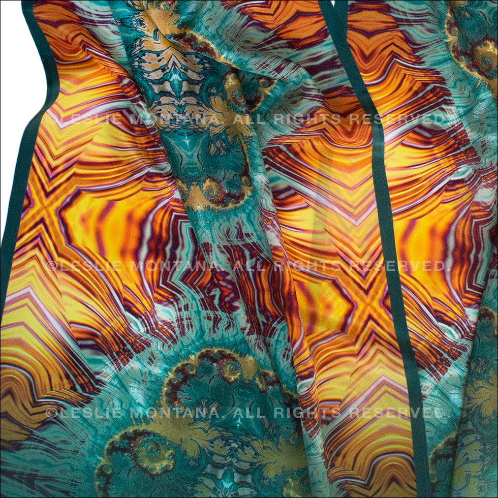 Terrestrial in Teal, Gold, Brick Fibonacci, fractal inspired designs by Leslie Montana the Green Alchemista collection