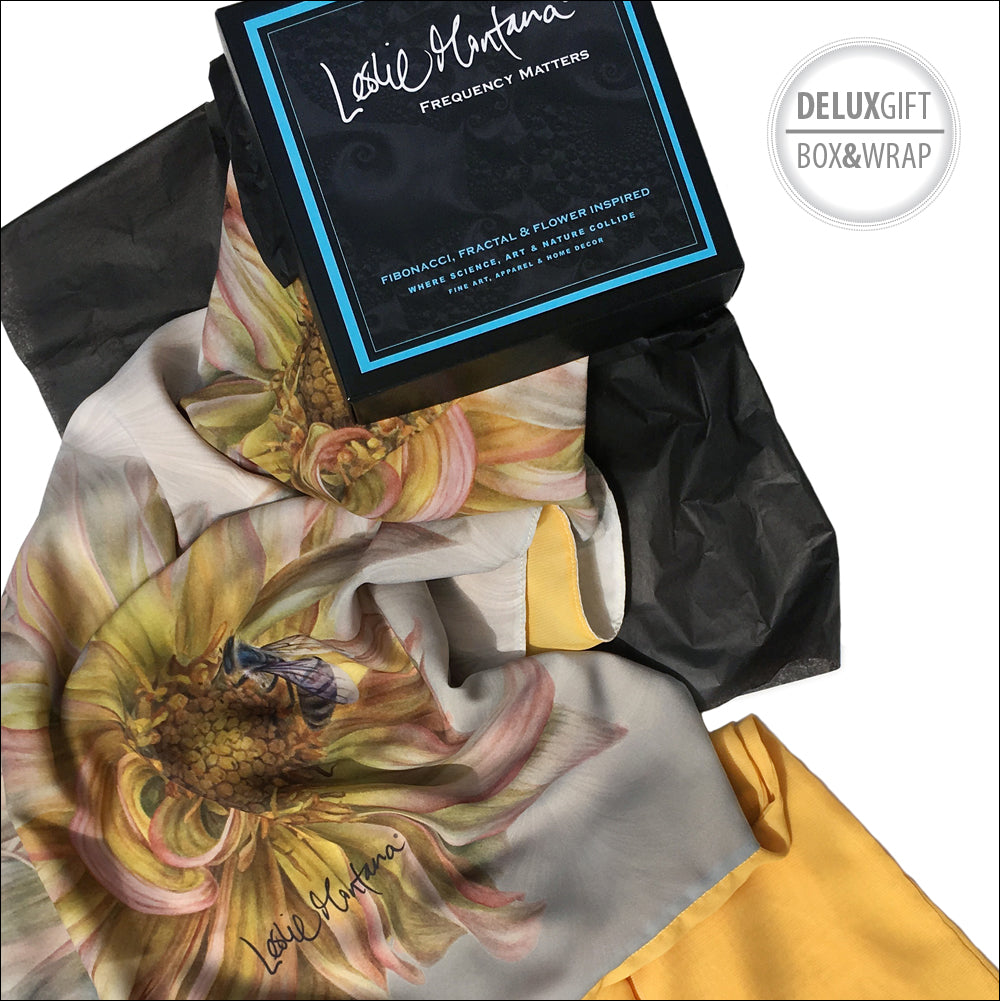 Shop Yellow Dahlia with Bee lightweight shawl original watercolor by Leslie Montana