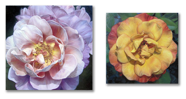 Pink Flame Rose and Yellow Rose with Red Edges, oil paintings by Leslie Montana