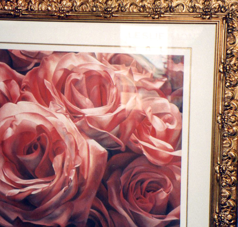 Roses of Love Giclee print framed ornate gold by Leslie Montana