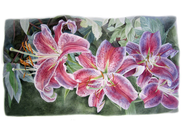 Stargazer Lilies watercolor painting by Leslie Montana