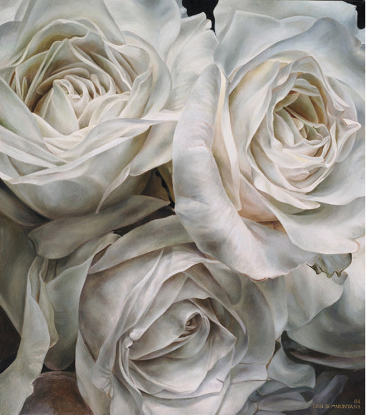 White Rose Cluster oil painting on canvas by Leslie Montana