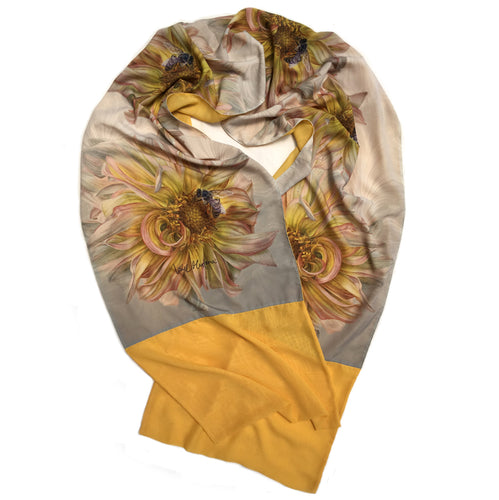 YELLOW DAHLIA WITH BEE | Lightweight Shawl | Watercolor Series - Leslie Montana