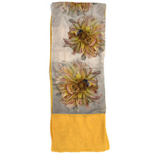 Load image into Gallery viewer, YELLOW DAHLIA WITH BEE | Lightweight Shawl | Watercolor Series - Leslie Montana