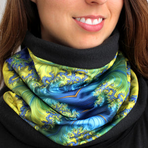 BAROQUE in Royal Blue/Yellow/Turquoise | Cozy Neck Warmer | Fibonacci inspired apparel | Winter cowl - Leslie Montana