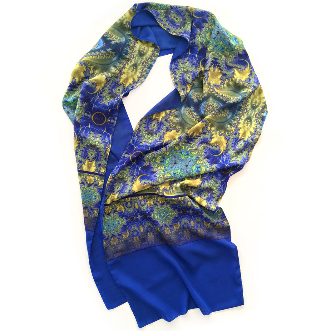BAROQUE Lightweight Shawl in Royal Blue, Yellow & Turquoise - Leslie Montana