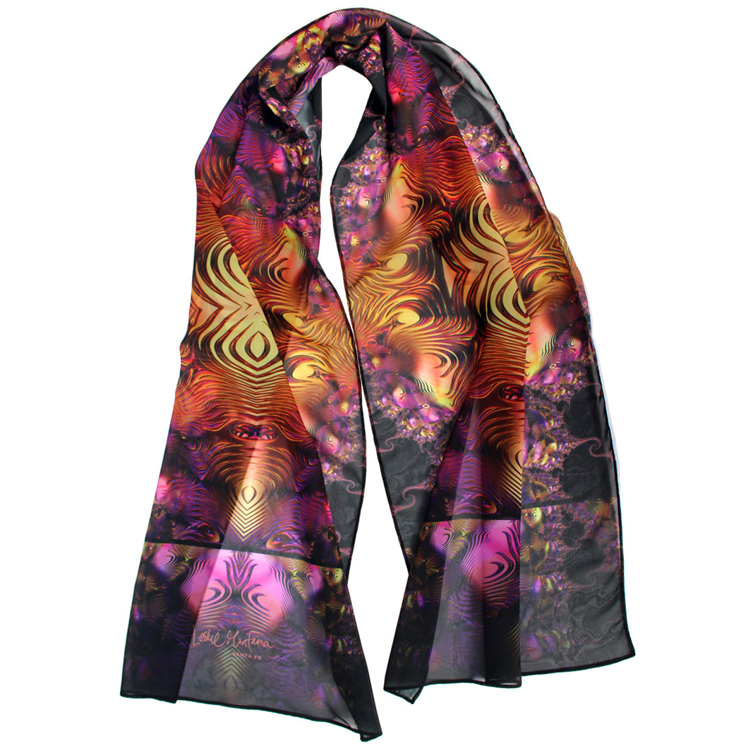 BLING FLING Chiffon Scarf in Purple, Gold & Black - Leslie Montana