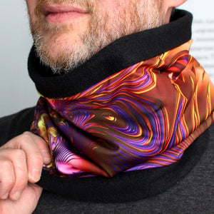 BLING FLING in Purple/Black/Gold | Cozy Neck Warmer | Fibonacci inspired apparel | Winter cowl - Leslie Montana