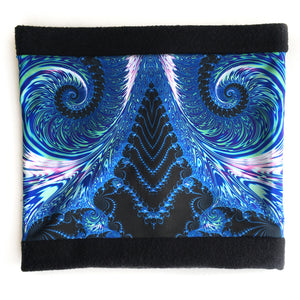 COSMIC LADDER Cowl, Neck Warmer in Blue, Black & Green - Leslie Montana