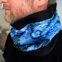 Load image into Gallery viewer, COSMIC LADDER in Blue/Black/Light Blue/Light Green | Cozy Neck Warmer | Fibonacci inspired apparel | Winter cowl - Leslie Montana
