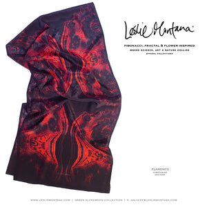 FLAMENCO in Red, Black & Grays Silk Scarf - Leslie Montana