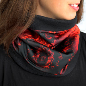 FLAMENCO Cowel, Neck Warmer in Black, Red & Gray - Leslie Montana
