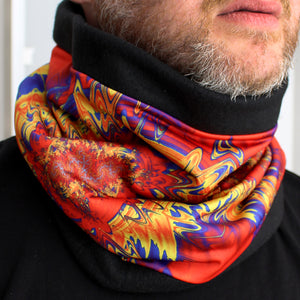 INDIAN BLANKET in Red/Blue/Gold | Cozy Neck Warmer | Fibonacci inspired apparel | Winter cowl - Leslie Montana