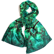Load image into Gallery viewer, INNER LANDSCAPE Chiffon Scarf in Sea Greens & Brown - Leslie Montana