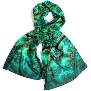 INNER LANDSCAPE Chiffon Scarf in Sea Greens & Brown - Leslie Montana