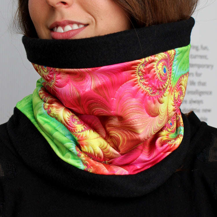 MARIPOSA in Bright Pink/Green/SkyBlue | Cozy Neck Warmer | Fibonacci inspired apparel | Winter cowl - Leslie Montana
