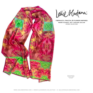 MARIPOSA in Bright Pink & Grass Green Silk Scarf - Leslie Montana