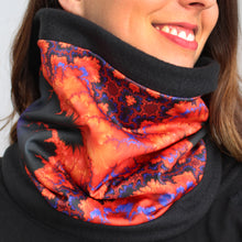 Load image into Gallery viewer, ON WINGS Cowl, Neck Warmer in Orange & Purple - Leslie Montana