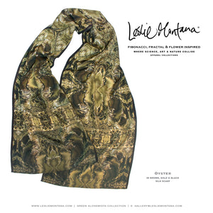 OYSTER in Brown, Gold, Black & Tan Silk Scarf - Leslie Montana