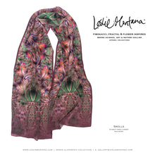 Load image into Gallery viewer, SEA SCROLLS in Rose, Moss, Lavender Silk Scarf - Leslie Montana