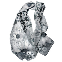 Load image into Gallery viewer, SPIRALING DAISIES Chiffon Scarf in Black, White & Gray - Leslie Montana