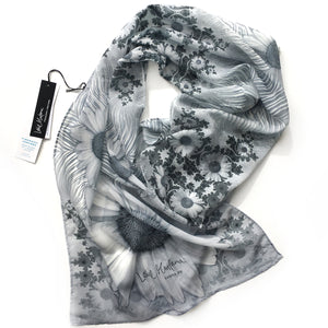 SPIRALING DAISIES Chiffon Scarf in Black, White & Gray - Leslie Montana