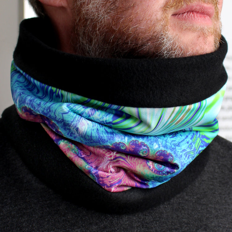 Terrestrial Cowl, Neck Warmer in Lavender, Blue & Green - Leslie Montana