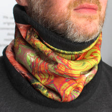 Load image into Gallery viewer, TERRESTRIAL in Coral/Green/Orange/Brown | Cozy Neck Warmer | Fibonacci inspired apparel | Winter cowl - Leslie Montana